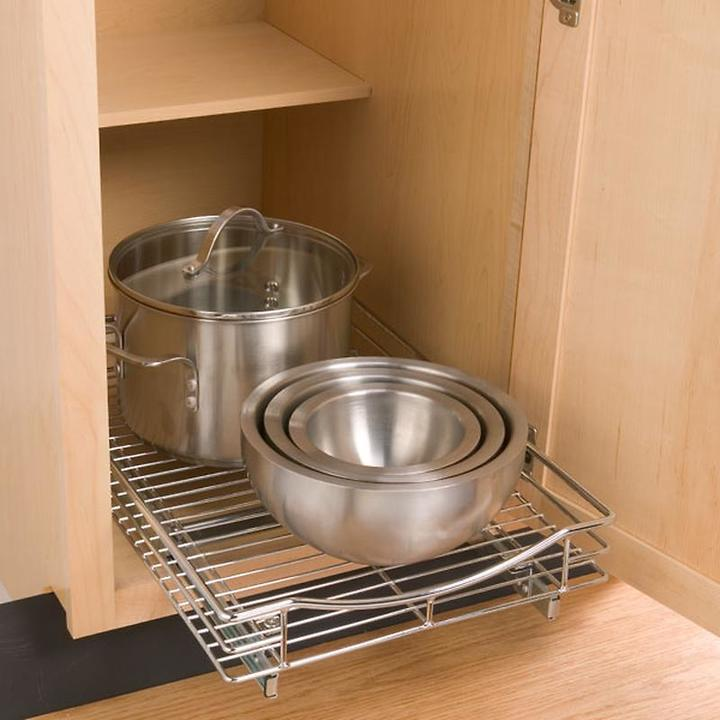 "Container Store 14"" Roll-Out Cabinet Drawer Chrome"