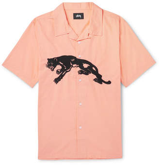 Stussy Camp-Collar Embroidered Cotton-Poplin Shirt