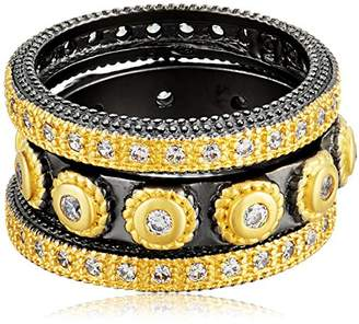 Freida Rothman Womens Signature Studded Triple Stackable Ring