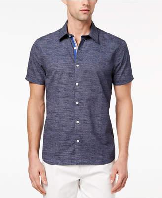 Ryan Seacrest Distinction Men's Slim-Fit Navy/White Broken-Stripe Sport Shirt, Created for Macy's