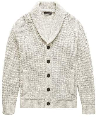 Banana Republic Cotton Waffle-Knit Shawl Cardigan Sweater