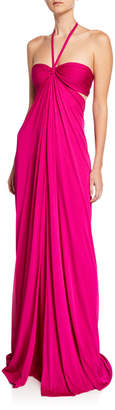 Naeem Khan Halter Side Cutout Gown