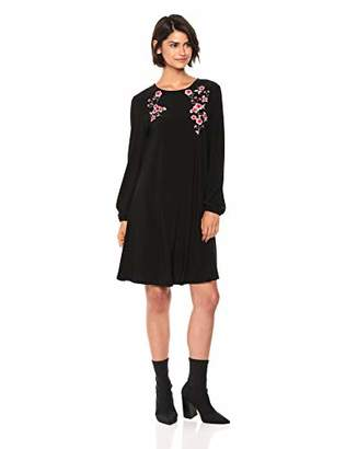 Nine West Women's Long Sleeve Embroidered Dress