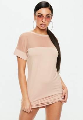 Missguided Nude Mesh T-Shirt Dress