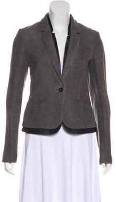 J Brand Leather-Trimmed Linen Blazer