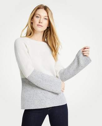 Ann Taylor Petite Cashmere Colorblock Ribbed Crew Neck Sweater