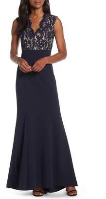 Eliza J Lace Bodice Trumpet Evening Dress