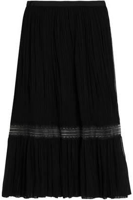 Vionnet Lace-Trimmed Plissé Silk-Georgette Midi Skirt