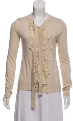 Blumarine Lace-Trimmed Knit Cardigan Beige Lace-Trimmed Knit Cardigan