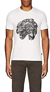 Just Cavalli MEN'S CAT-PRINT COTTON T-SHIRT-WHITE SIZE S