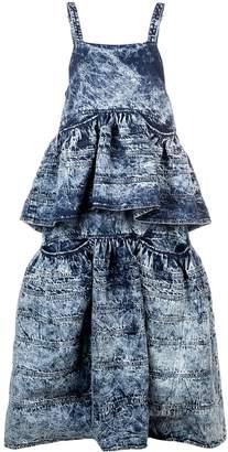 Proenza Schouler Acid Wash Denim Tiered Dress