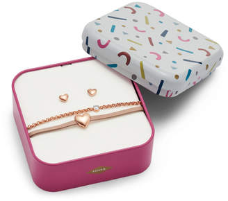 Fossil Heart Rose Gold-Tone Stainless Steel Studs and Bracelet Box Set