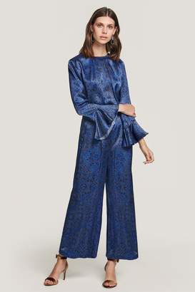 Beulah London Nila Blue Tile Satin Blouse