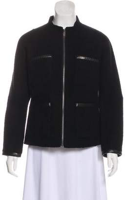 Theory Wool Leather-Trimmed Jacket