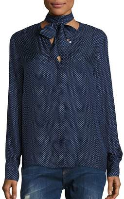 SET Women's Silk Polka Dot Tie-Neck Blouse