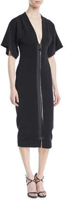 Cushnie et Ochs Deep-V Two-Way Zip Kimono-Sleeve Midi Dress
