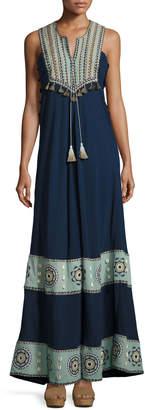 Neiman Marcus Talitha Collection Embroidered Cotton-Silk Sleeveless Maxi Dress, Navy