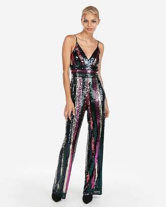 Express Petite Multicolor Sequin Jumpsuit