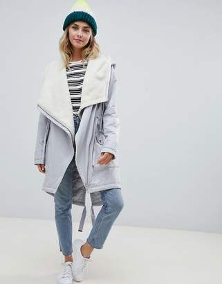 Asos DESIGN waterfall parka with borg liner