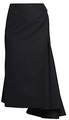 Dries Van Noten Women's Side Sash Pinestripe Asymmetric Wool-Blend Midi Skirt