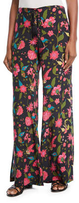 Figue Ipanema Wide-Leg Side-Zip Floral-Print Pants