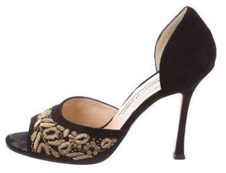 Manolo Blahnik Floral-Embroidered Peep-Toe Pumps