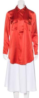 Magaschoni Satin Shirt Dress