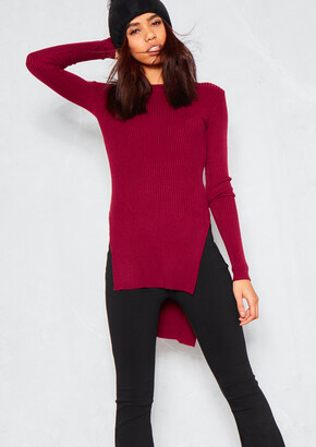 79057a58d Missy Empire Missyempire Elena Wine Ribbed Side Split Knit Jumper