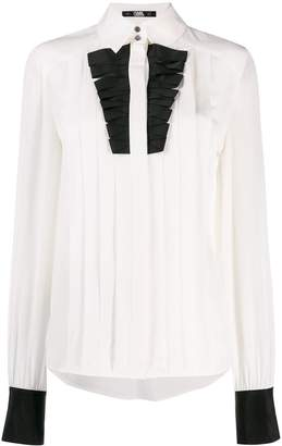 Karl Lagerfeld Paris pleated plastron poplin shirt