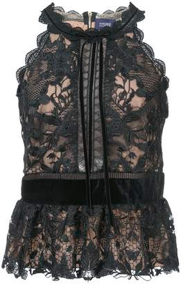 Marchesa lace detail peplum top