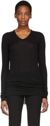 Rick Owens Black Long Sleeve V-Neck T-Shirt