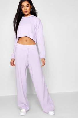 boohoo Heavy Knitted Cropped Hooded Wide Leg Set