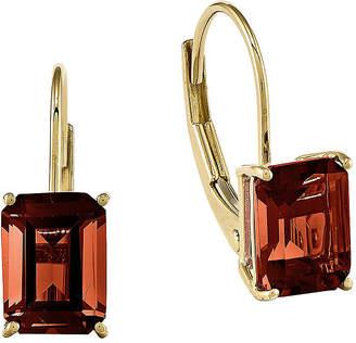 FINE JEWELRY Genuine Garnet 14K Yellow Gold Emerald-Cut Earrings