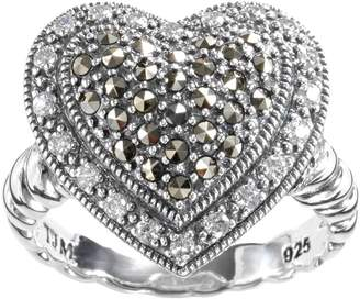 Lavish By Tjm Lavish by TJM Sterling Silver Cubic Zirconia & Marcasite Tiered Heart Ring