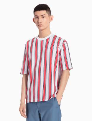 Calvin Klein wide vertical stripe cotton knit t-shirt