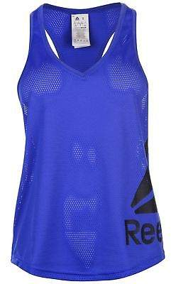 Reebok Womens Mesh Tank Top Performance Vest Sleeveless V Neck Racer Back Print