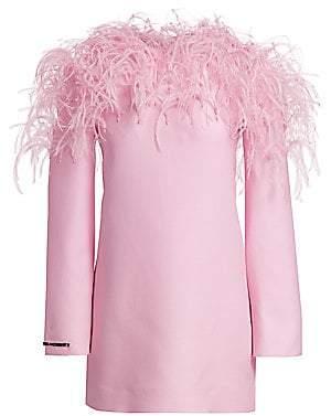 Valentino Women's Feather-Trim Wool & Silk Shift Dress