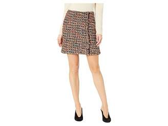 J.o.a. Tweed Mini Skirt with Self Fringe and Buttons