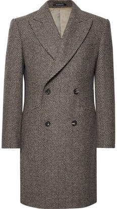 Richard James Slim-Fit Double-Breasted Herringbone Wool Coat