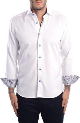 Men's Bertigo White Arrow Dobby Modern Fit Sport Shirt $149 thestylecure.com