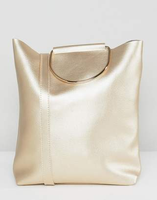Yoki Fashion D-Ring Tote Bag with Shoulder Strap in Pearlised Gold