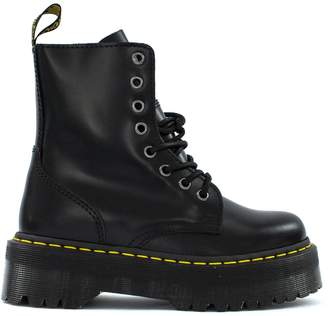 Dr. Martens Jadon Boots In Black Polished Smooth Leather.