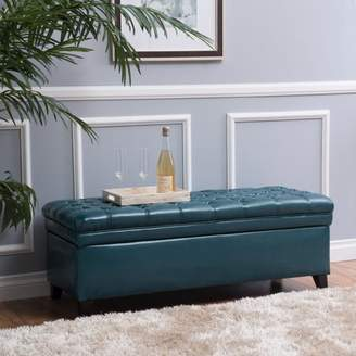 Noble House Barton Tufted Faux Leather Storage Ottoman, Teal