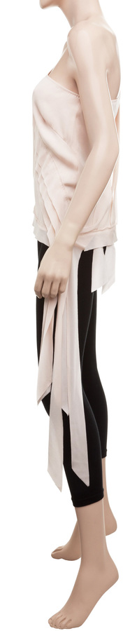 Max Studio Stretch Silk Georgette Banded Blouse