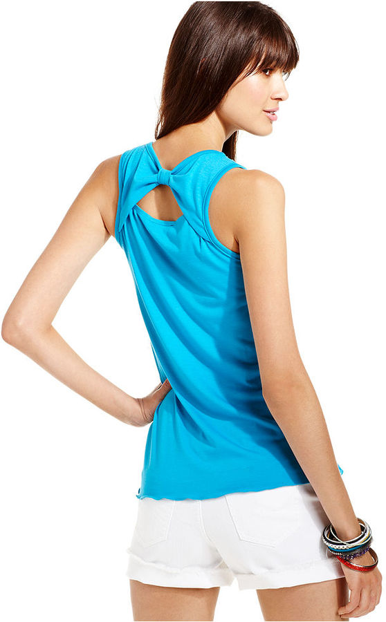 Amy Byer Juniors Top, Sleeveless Asymmetrical Tiered Tank
