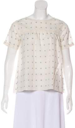 Band Of Outsiders Embroidered Short Sleeve Top