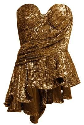 Maria Lucia Hohan Krista Sequinned Peplum Bustier Top - Womens - Bronze