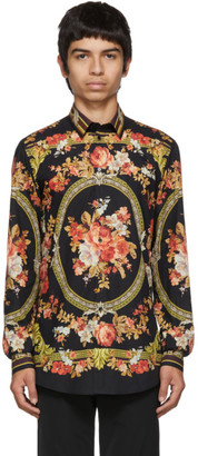 Dolce & Gabbana Black Flower Print Shirt