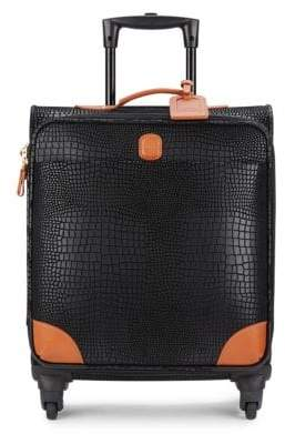 """Bric's Mysafari 20"""" Embossed Leather Spinner Carry-On"""