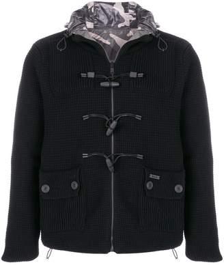Bark reversible camouflage knitted jacket